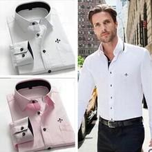 5 cor sólida populares artigo Camisas camisa lenth casuais da marca Camisetas 2014 homens novos do ver?o Masculinas polo camisa social, cobre blusas(China (Mainland))