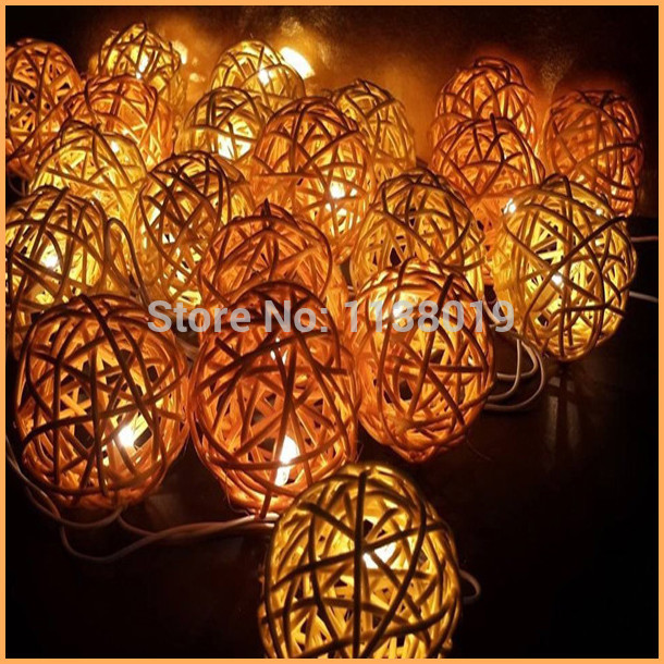 Beautiful Mix Yellow Rattan ball natural light party indoor outdoor Party lamp wedding decoration string lights(China (Mainland))