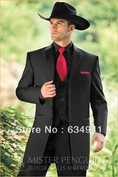 Black jacket pant vest tie/Custom MADE cheap italian MEN'S FOR SUIT/MAN Suit/WESTERN STYLE WEDDING GROOM TUXEDOS GROOMSMEN DRESS(China (Mainland))