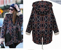 Free shipping 2014 new outfit thickening in cotton and wool long money hooded warm cotton-padded clothes