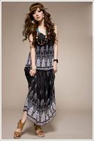 2014 spring and summer e528 romantic chiffon print long dress chiffon one-piece dress