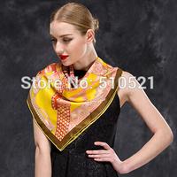 fashion boutique yellow paisley seda echarpe women square scarf 90 free shipping