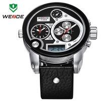 WEIDE Brand Oversized Men Watch Three Time Zones LED Digital Quartz 3ATM Genuine Leather Strap Sports Watches Dress Wristwatch