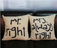 Free shipping high quality linen beige sofa cushion cover/throw pillow cover wedding gift Mr right & Mrs. always right 45*45cm