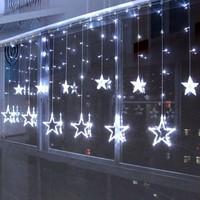 2 X 1m White LED String Curtain LIGHTS Holiday CHRISTMAS Background Decoration 168 Lamps 12 Stars 110V/220V EU/US/UK/AU