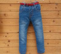Wholesale- New Children Girls Trousers Frozen Elsa Anna Cartoon Kids Girl Printing Blue Denim Long Pants Childs Clothes