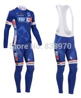 Free shipping !2014 FDJ FR Cycling Jersey Long sleeve and bicycle bib Pants / ropa ciclismo clothing MTB C06087