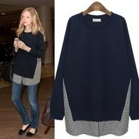 Hot sale! new fashion America big brand women loose grid patchwork long sleeves elegant Hoodies & Sweatshirts navy and black