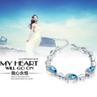 Lot 2Pcs New Fashion Style Blue Crystal Chain Bracelet   Jewelry 18K Plated Ladies' Bracelet Chain