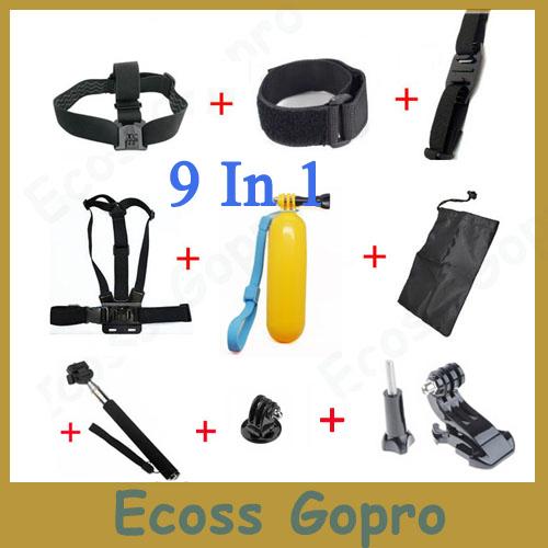GoPro Accessories Set Gopro Remote Wrist Strap +Helmet Extention Kits Mount + Chest Belt Mount +Bobber +For Gopro hero2/3/3+/4(China (Mainland))