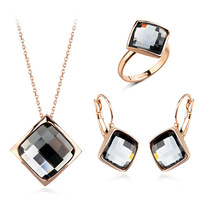Classic 18K Rose Gold plated party Princess Cubic Zirconia Rings & Necklace & Earrings Jewelry Set