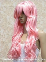 NEW LONG LIGHT PINK CURLY LONG WIG women's Girls no lace Natural Kanekalon hair wigs Free deliver