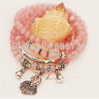 Min Order $15  Free Shipping Fashion Pink Cymophane  Multi Layer Jade Vegetable Bracelet Unique Money Pocket Strand Bracelet