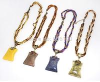 HX1064 High quality Bohemia style antique beads jewelry fashion women's vintage pendant necklaces 8 colors available 12pcs/lot