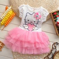 2014 summer new Korean baby girls princess dress girl's fashion hello kitty dress Wholesale A304