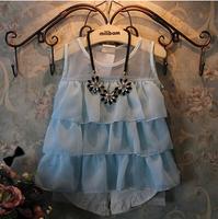 2014 Summer new Korean children layers of chiffon vest cute girls Genuine Princess Dress