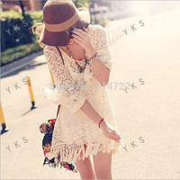 1pcs 2014 Fashion Women Bell Sleeve Fringe Tassels Lace Hollow Mini Dress Tops Blouse Free Shipping