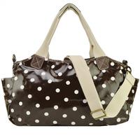 Free Shipping 2014 New Women Handbag Polka Dot Printing Tote Haandbags Oil Cloth Shoulder Bags QQ1749 Dark Brown