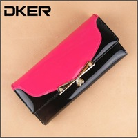 Fashion PU Leather Women Wallet Panelled Thread Purse 3 Fold Money Clip Female Card Holder Patent Women Clutch B252