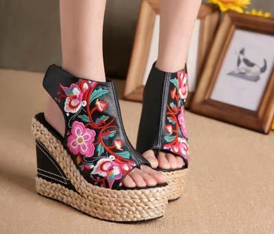 bohemien stile etnico ricamo sandali di paglia intrecciata po peep toe piattaforma delle donne pu scarpe casual sandali spedizione gratuita