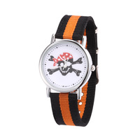 High Quality Fashion New Skull Women Men Fabric Casual Dress Watches Canvas Strap Quartz Watch Hours Clocks FFN034