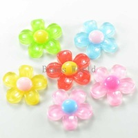 30 Pcs Mixed Colorful Flower Resin Flatback Scrapbook Embellishment 21mm DIY Kids Hair Accessories Jewelry Findings (W03797 X 1)