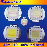 High Quality  10pcs/lot 10W 20W 30W 50W 100W 45MIL Cold White  20000K -25000K LED Chip DIY Lamps for Fishing Tank/Flood light