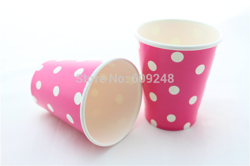 60pcs 90Z Personalized Birthday Wedding White Polka Dot Deep Pink Party Colorful Paper Cups,3 Days Delivery on Orders over $100(China (Mainland))