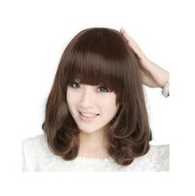 WigTimes Sweet Style Neat Bangs Layers Curly BOBO Synthetic Hair Wig(China (Mainland))