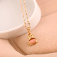 Fashion Crystal Rabbit Jewelry Opal Lovely Gold Plated Necklace Pendants for Women Jewelry