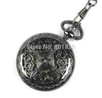 Steampunk Watch Skeleton Male Clock Mechanical Hand Wind Classic Black Retro Vintage Gift Pendant Pocket Watch H175