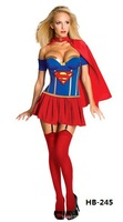 2014 New Free Shipping Sexy Superman Fancy Dress Party Cosplay Costume Halloween Uniforms Night Woman Clubwear Blue Red