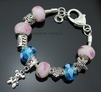 "Family ""Hand in Hand"" Love Heart Charms Koala Bear Pendant European Murano Glass Beads 925 Silver Bracelet + Gift Pouch PBS001"