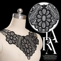 5pc 36x31cm Embroidery Neckline Lace Applique Bowknot Lace Trim Collar Dentelle Guipure Motif Patches Garment Accessories AC0281