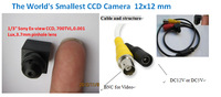 Free Shipping smallest 12x12mm  700TVL CCD Camera ,low lux Ex-view 0.001