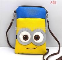 2014 whlosale price minion messenger bag despicable me cartoon pu shoulder bag 30pcs/lot