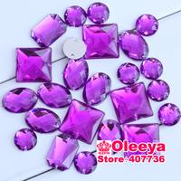 2014 100pcs Purple Mix shape Mixed size  acrylic rhinestones Sew on Rhinestones Acylic rhinestone buttons Flat back gems DIY