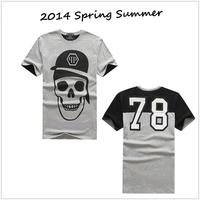 Free shipping 2014 new men t shirt brands summer mens t-shirt casual wear print causal mens tshirt cotton fashion designer