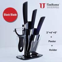 Free Shipping TJC-005BK Ceramic Knives Set 3/4/5 Inches+Peeler+Holder Black Blade Zirconia Made Quality and Elegant Ever Sharp