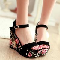 button scrub wedges high-heeled sandals women's shoes platform open toe platform sandals free shipping comfortable sweet sandles