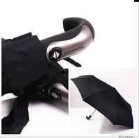 Men's oversized 125cm automatic black umbrella,curved handle strong windproof UV protection folding umbrella