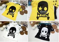 2014 new arrival summer Children 100% cotton top baby girl boy skull t shirt kid shortsleeve lovely clothing 5pcs/lot