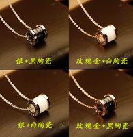 LFashion luxury Italy brand name benefit jewelry ceramic round pendant 18k rose gold titanium chain mens bridal women necklace