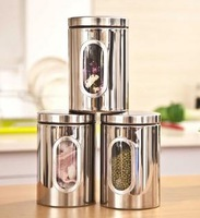 Stainless steel Canister With Window and  Plastic Lid(All with chrome locking)