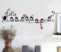 Bird Singing On The Wire&Music Note Removable Decal Wall Sticker Kids Room Decor