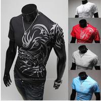 Freeshipping,Hot Sale,2014 Fashion Brand T Shirts For Men Novelty Dragon Printing Tatoo Male O Neck T Shirts M-3XL