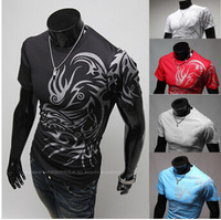 Freeshipping,Hot Sale,2014 Fashion Brand T Shirts For Men Novelty Dragon Printing Tatoo Male O Neck T Shirts M-3XL