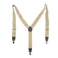 Brand New Men's Genuine Leather Brace Elastic Plain Y-back Clip-on Suspender Pants Strap Clip