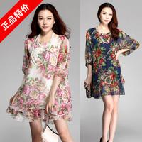 3XL~6XL 2014 Summer Women Plus Size 4XL 5XL Elegant Peony Floral Print Half Sleeve Chiffon Cool Loose Short Straight Dresses