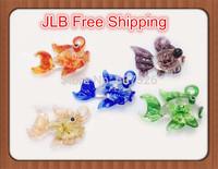JLB Wholesale 12pcs Baroque colorful Fashion Fish Lampwork 3D Flower glass murano pendants necklace jewelry FREE SHIPPING